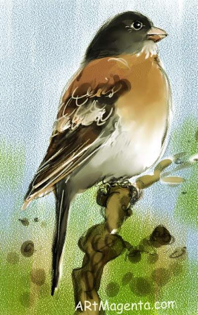 EEn  fågelmålning av en bergfink  från Artmagentas svenska galleri om fåglar.