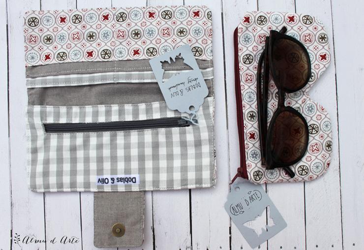 Billetera y funda para gafas hecho a mano