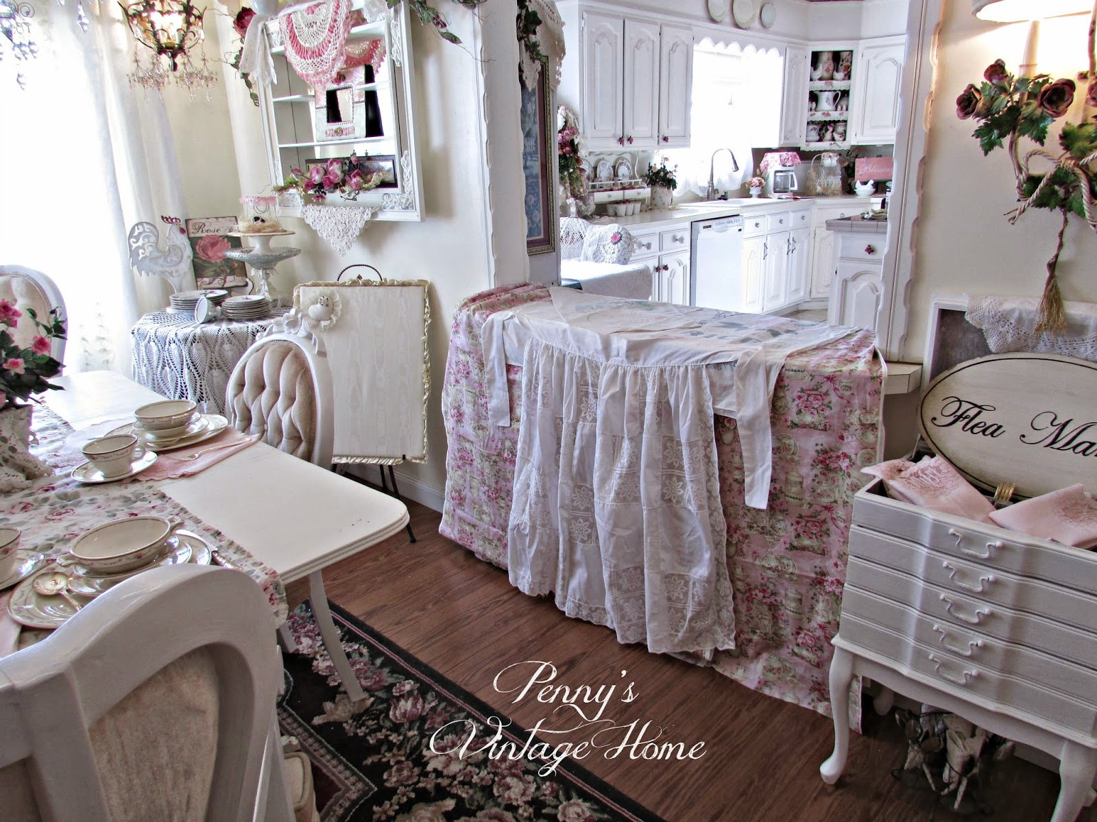 White apron to decorate - I Added A Long White Apron To The Front Of My Pink Drape Just To Add A Little Texture