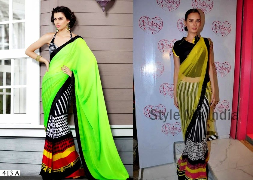 Showbiz Star Spotted in Printed Sarees