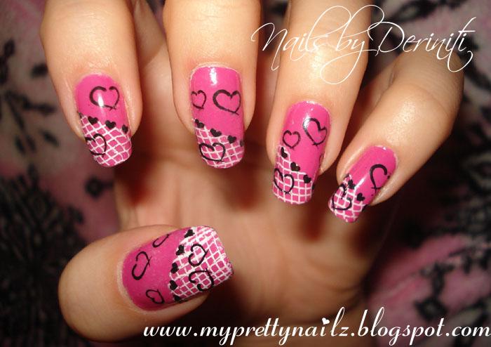 My pretty nailz valentines day matching mani pedi nail art m56 m57 m78 nyc fuschia shock creme konad white special konad black special prinsesfo Images