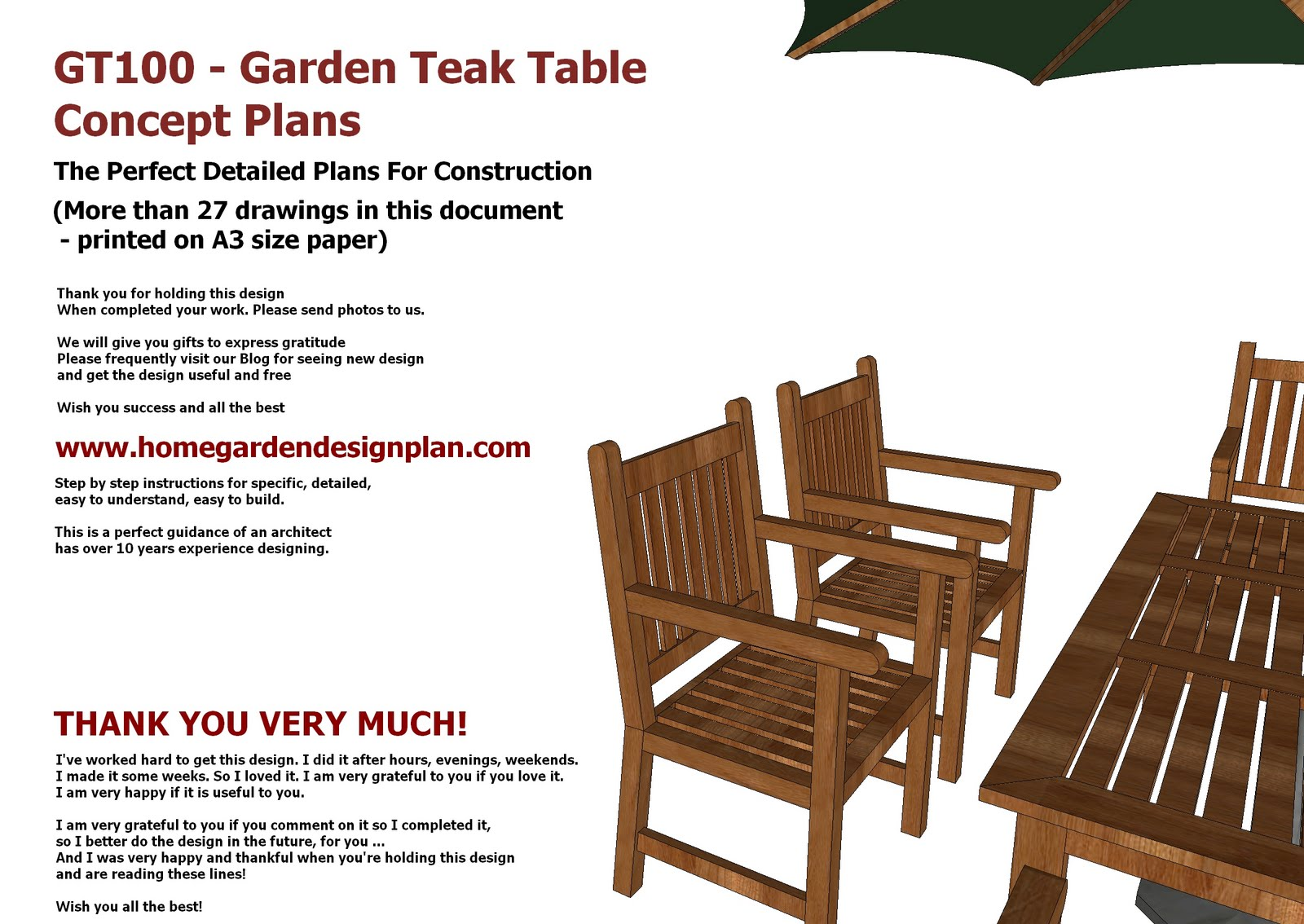 Outdoor Wood Chair Plans ~ Home garden plans gt teak tables