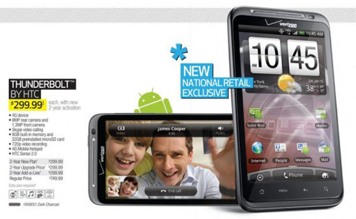 HTC Thunderbolt Pricing Unveiled