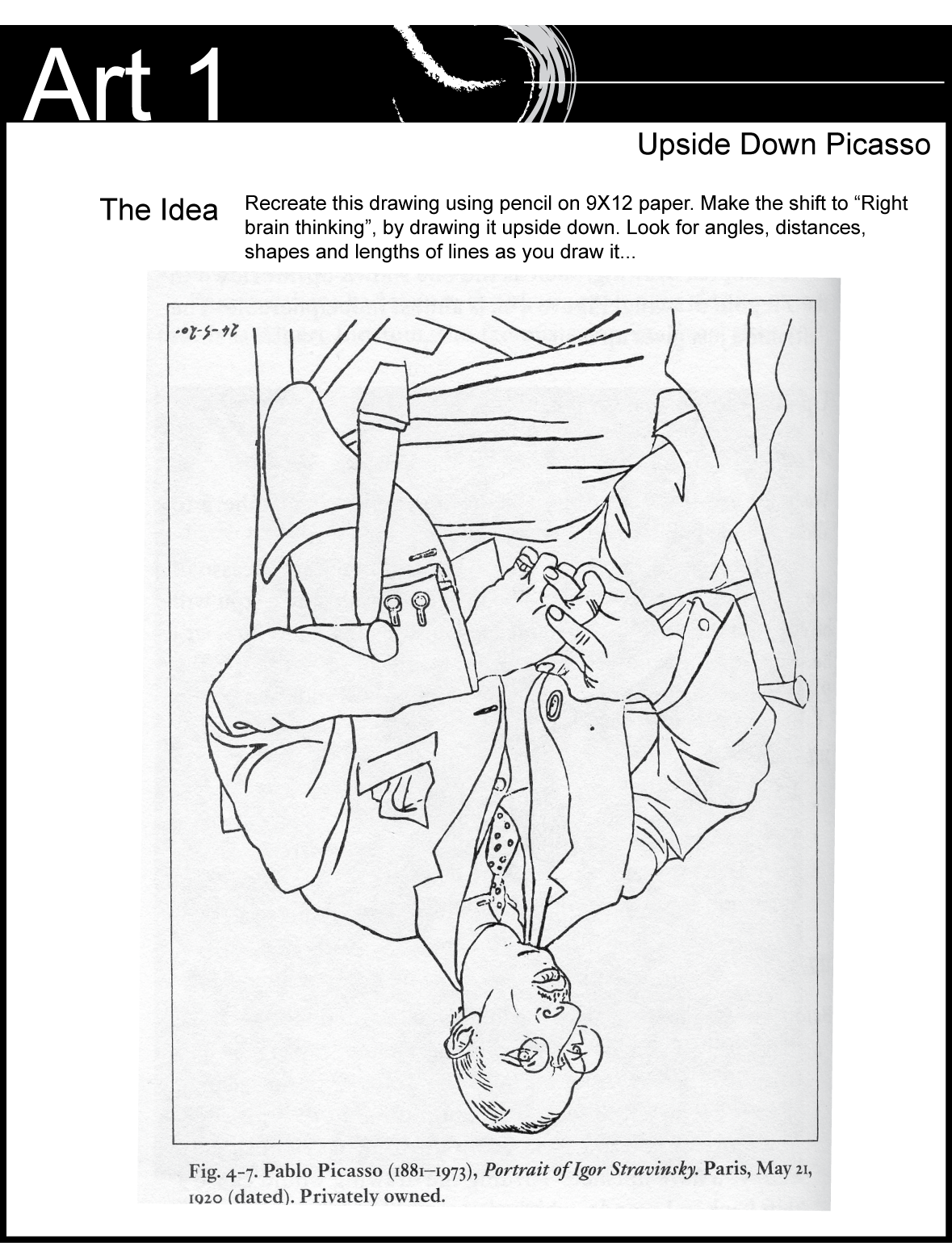 Upside Down Contour Line Drawing : The other art one upside down picasso