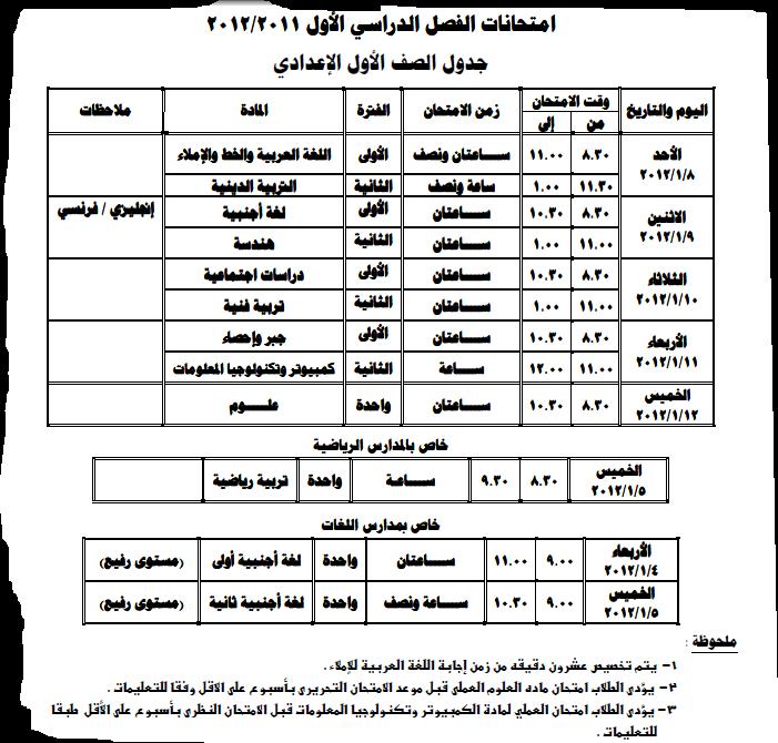 جدول امتحانات المرحلة الاعدادية