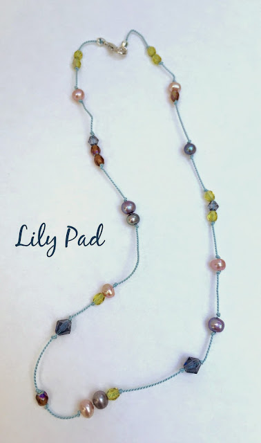 Lilypad handknotted beaded necklace