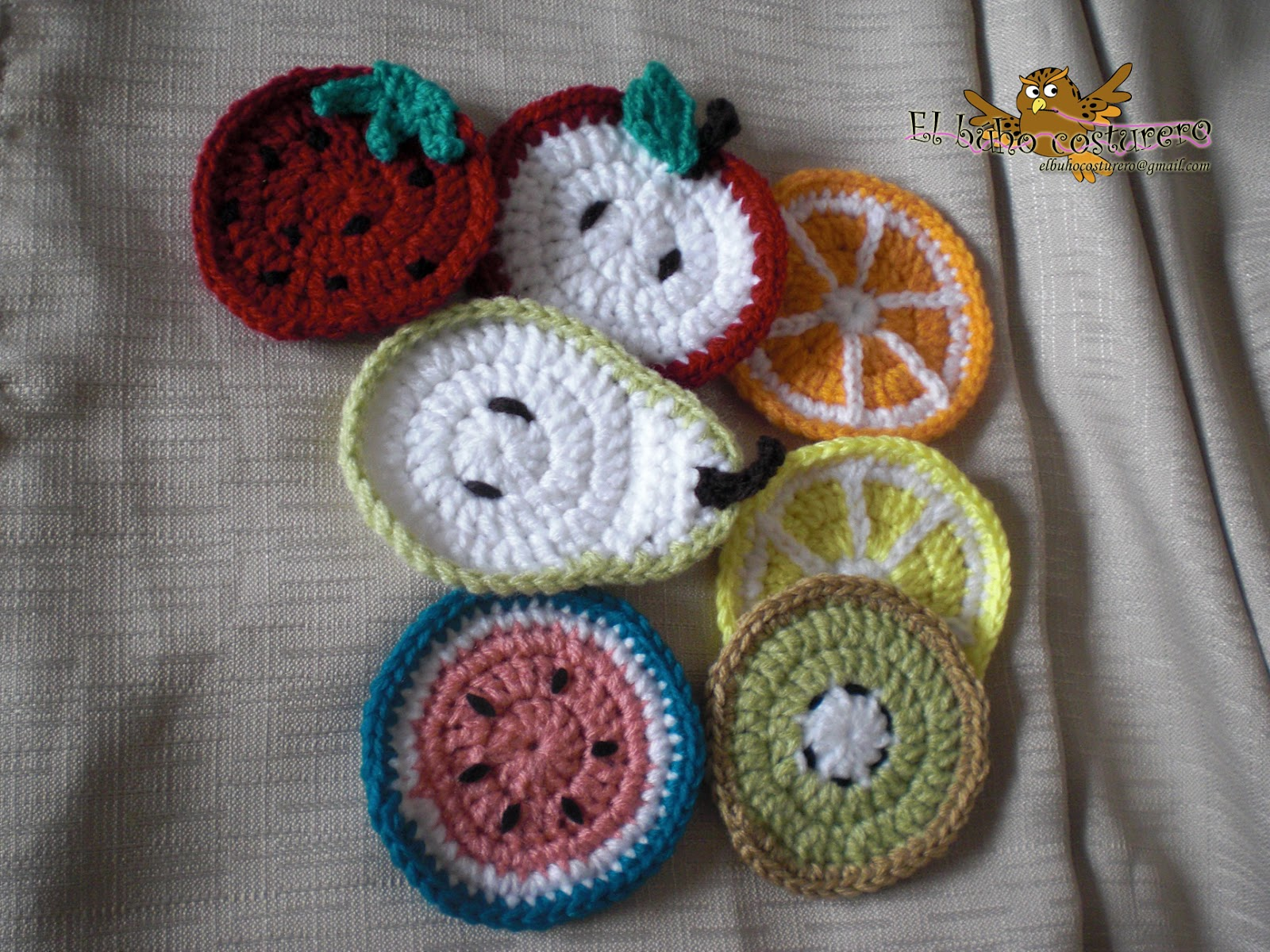 El búho costurero: Crochet: frutas posavasos