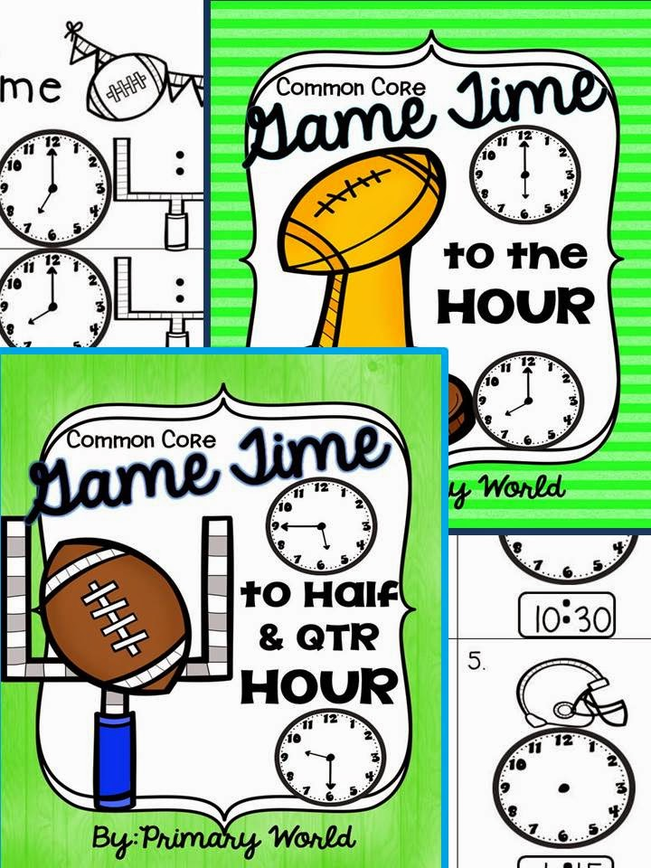 Time to Hour, Half Hour, Quarter Hour Foot Ball Theme!