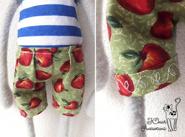 Кот хулиган Серёга - детали - штаны в яблоках