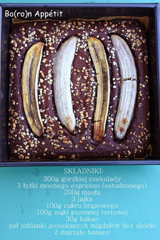 Brownies z bananami i migdałami