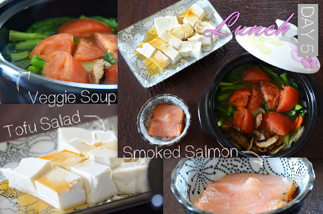A healthy, Asian-style detox lunch, with Chinese tofu salad, Korean vegetable soup, and smoked salmon.