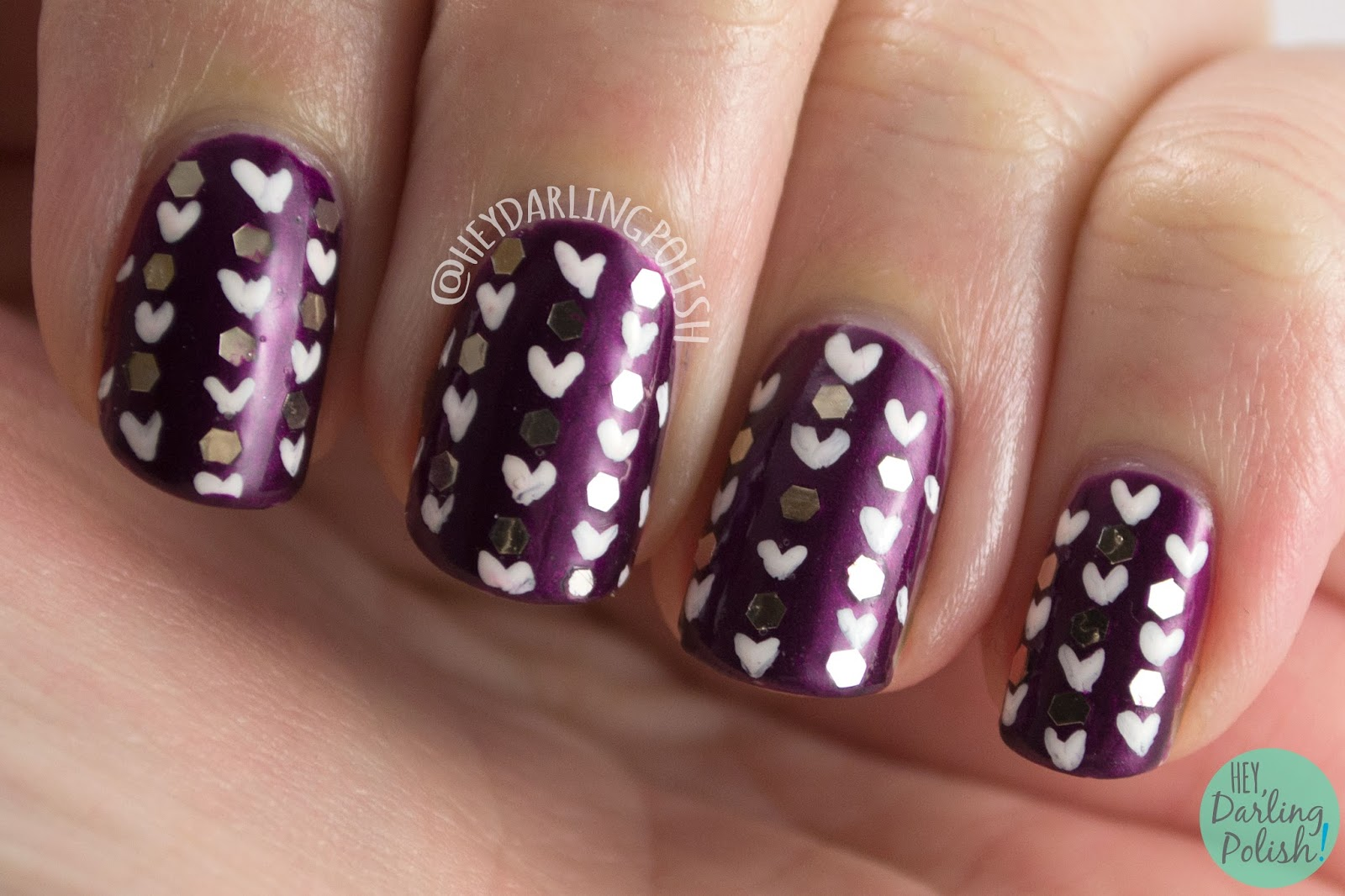 nails, nail art, nail polish, purple, hearts, glitter, glequins, hey darling polish, 52 week challenge, pattern