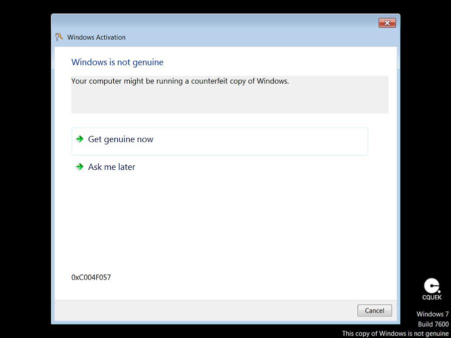 windows genuine advantage validation v1 5.7