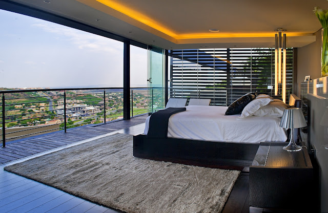Picture of the modern bedroom and the view