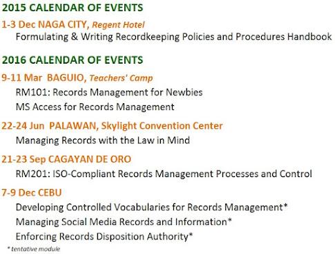 PRMA Training Calendar