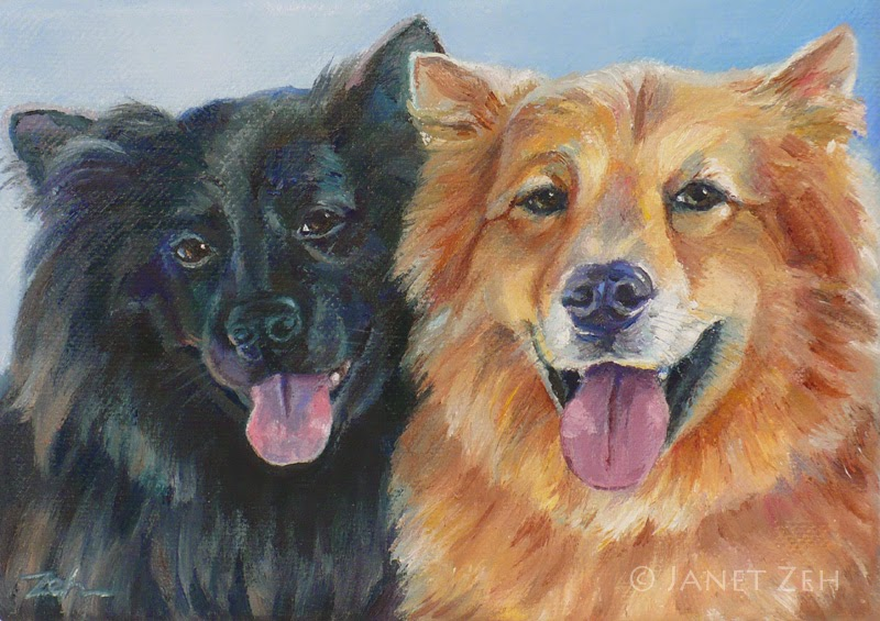Oil portrait of two Chow mixes