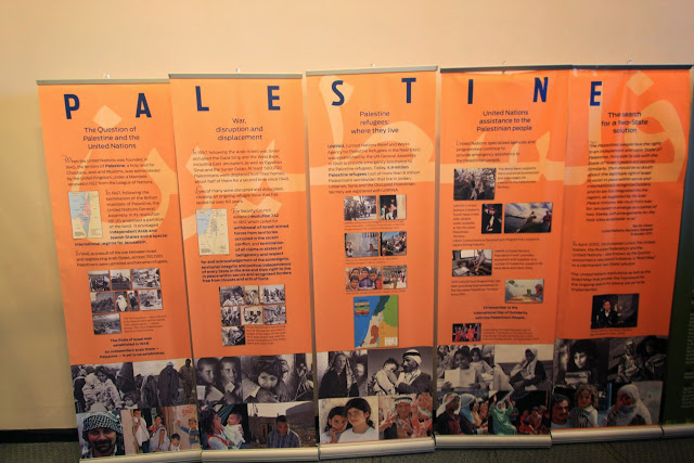 The exhibition board about Palestine refugees at United Nations Headquarter Building in Manhattan Island, New York, USA
