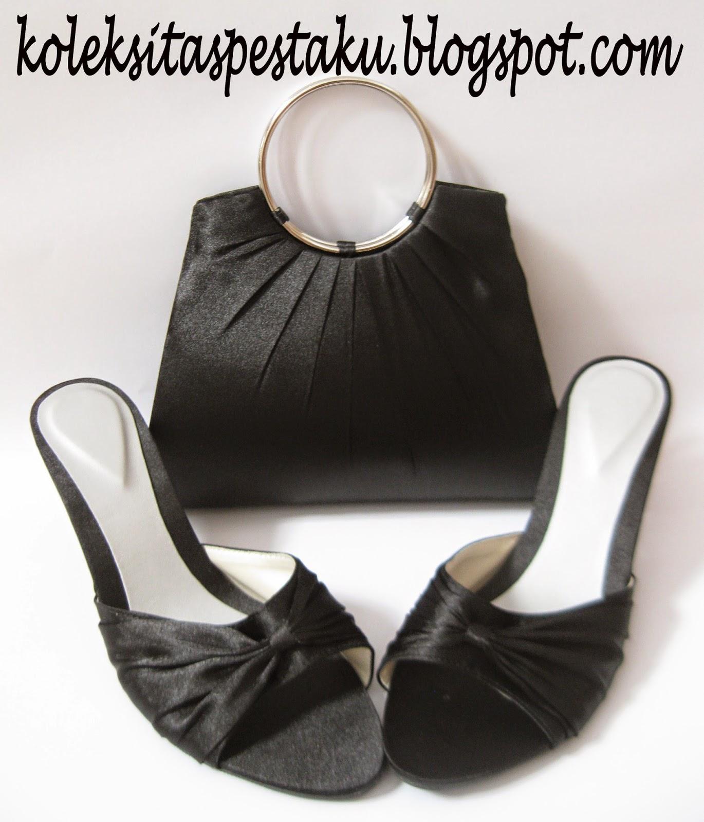 Paket Matching Tas Pesta dan Slop Pesta Mewah Hitam