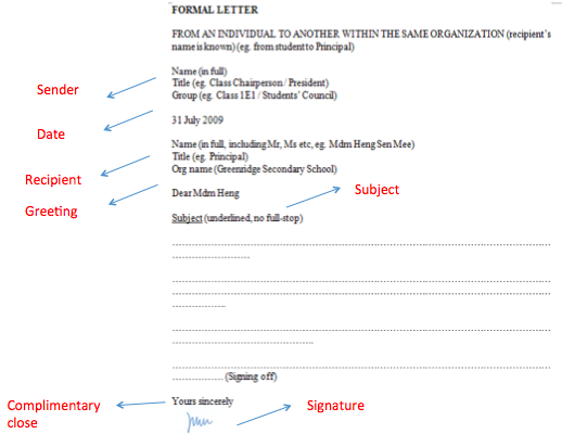 Formal Letter Format (internal: within the same organization)