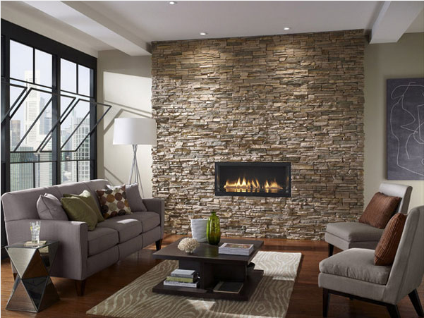 Stone Ember Wall Living Room