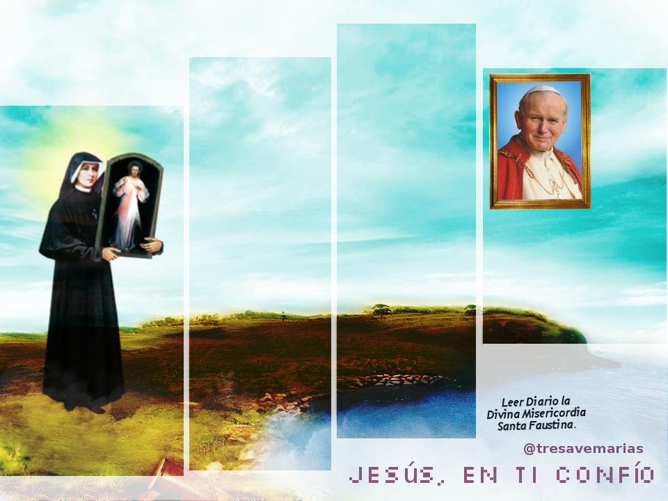 fondo de pantalla con jesus y santa faustina y el papa