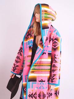 Vintage pink Pendleton navajo print wool maxi coat with hood.
