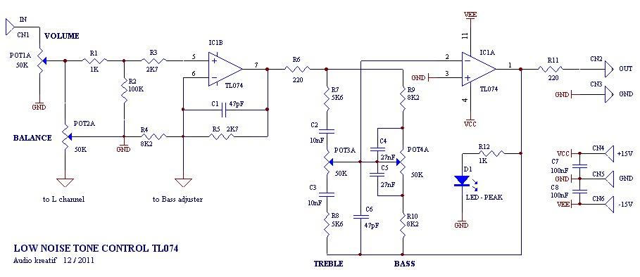 Tone control low noise circuit - Electronic Circuit