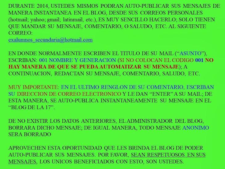 AUTO-PUBLICATE INSTANTANEAMENTE EN EL BLOG LAS 24 Hrs. DEL DIA: