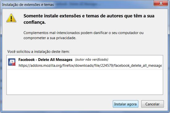 extensão apagar todas mensagens facebook