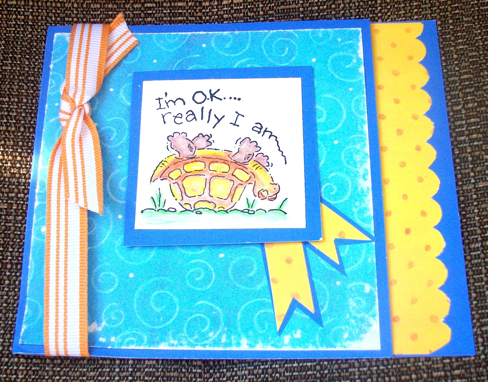 created b creative  today i received this beautiful handmade card from karen one of my fellow word art wednesday design team members the turtle made me laugh out loud