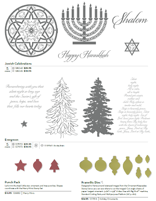 Stampin'UP! Stamp Sets: Jewish Celebrations and Evergreen, and Ornament Dies and Christmas Punches