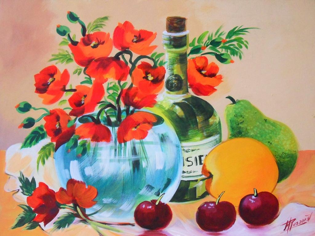 bodegn fcil de pintar bodegones pintados con acrlico pintura bodegn fcil de pintar bodegn con botella frutas y florero pintora margarita rosa gmez