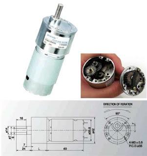 Dc motor new 12volt TORSI 9 KG - RPM 322  dc dengan gearbox 575.000