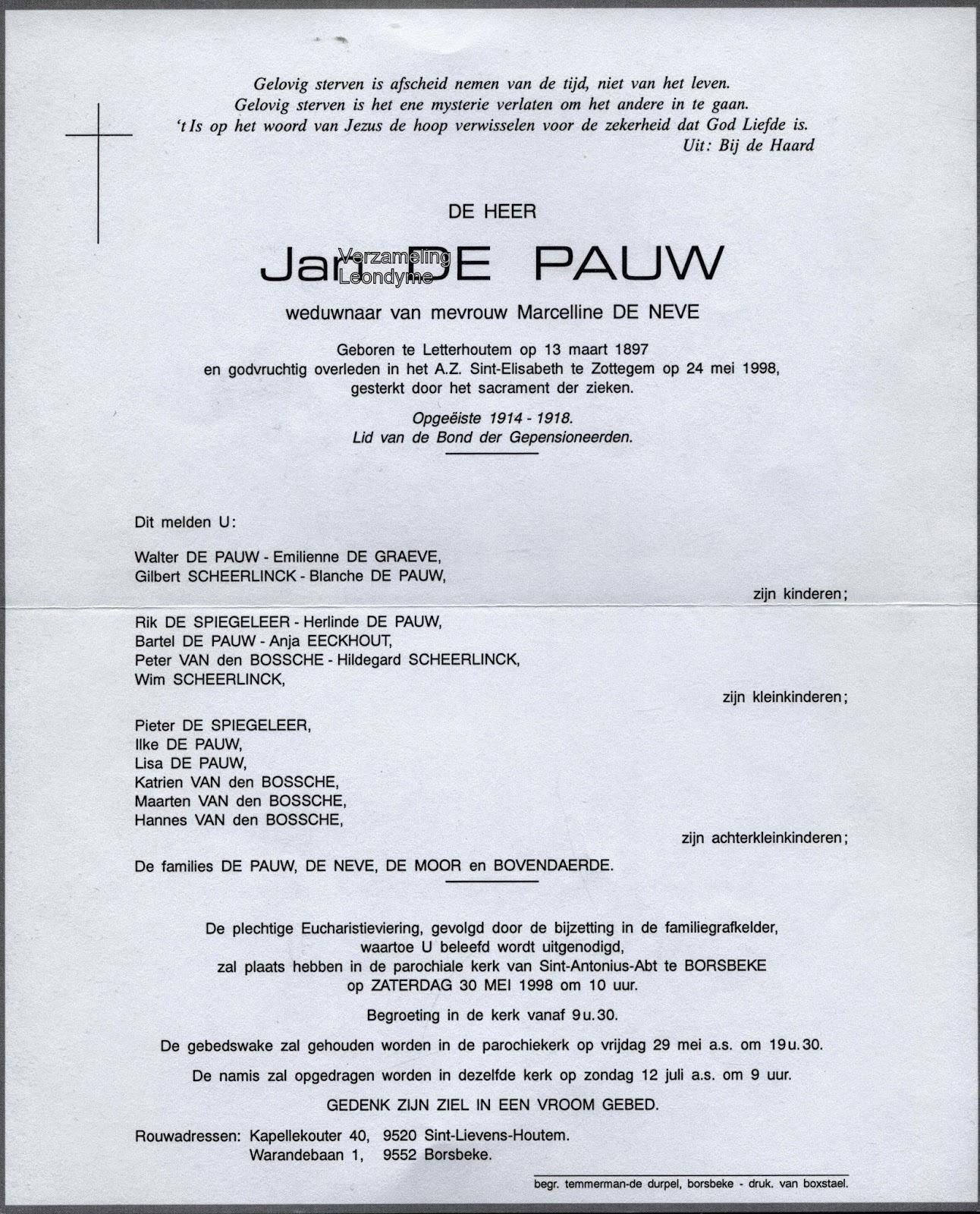 Rouwbrief, opgeëiste Jan De Pauw 1897-1998, Wereldoorlog 1914-1918. Verzameling Leondyme.