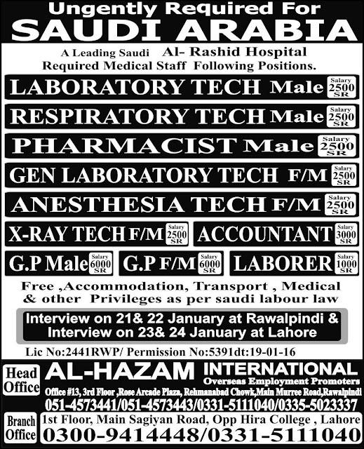 Accountant & Medical Technicians Jobs in Saudi Arabia