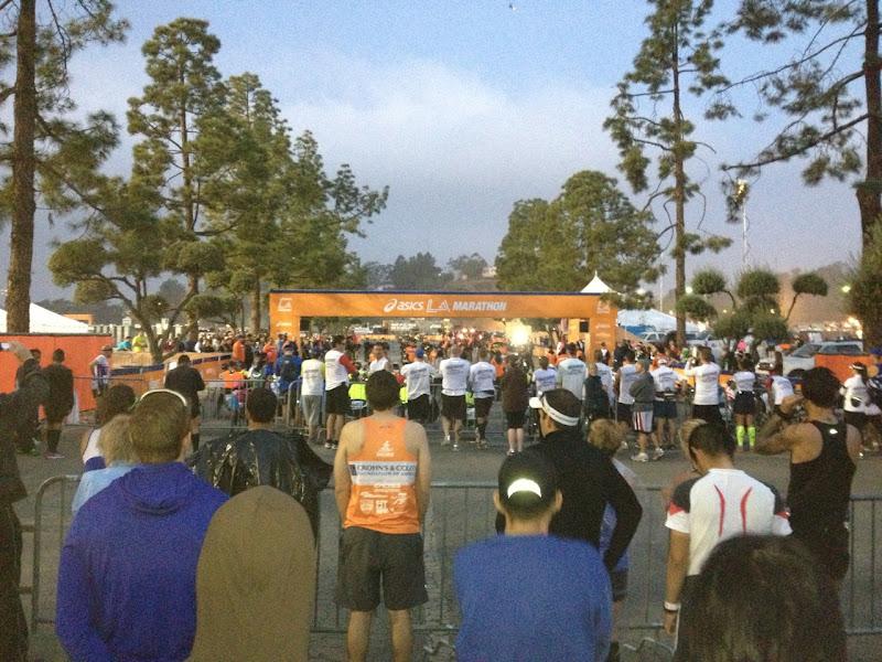 B corral LA Marathon Dodger Stadium