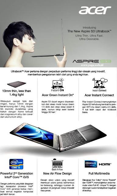 Acer Aspire S3 Key Features Ultrabook Notebook Tipis Harga Murah Terbaik