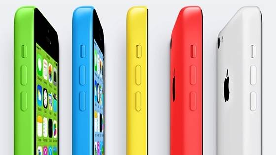 As cinco opções de cores do iPhone 5C