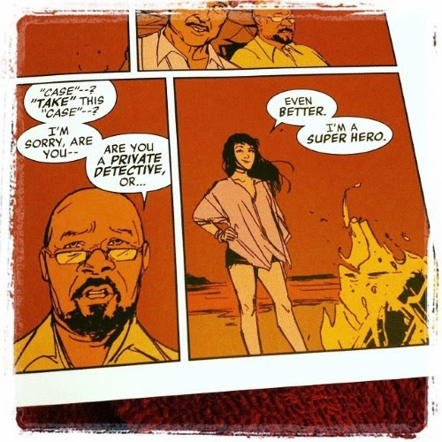 Two orange-tinted panels. In the first, a bald blank man with a goatee says, 'Case--? Take this case--? I'm sorry, are you-- Are you a private detective or...' In the second panel, a pale skinned, dark-haired girl says, 'Even better. I'm a super hero.'