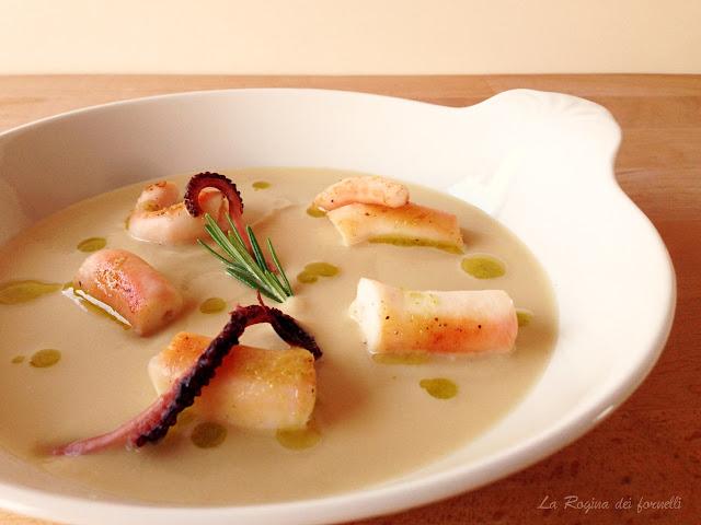 spiedo di polpo, crema di ceci e salsa al rosmarino ( Pino Cuttaia )