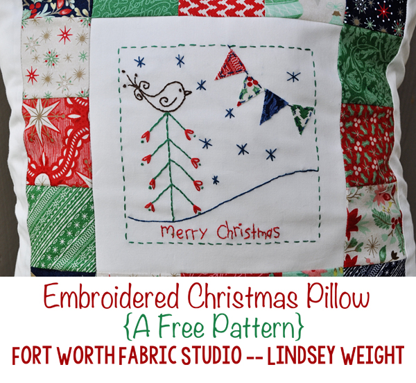 Fort worth fabric studio embroidered christmas pillow