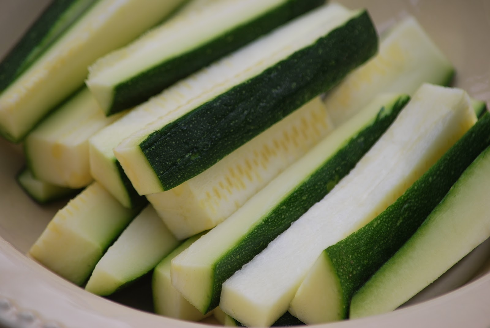 Place the zucchini sticks in a colander over a bowl and sprinkle with ...