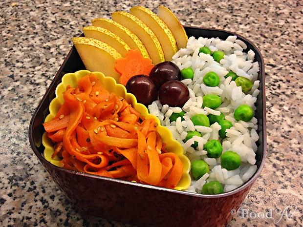Reis mit Erbsen, Obst und Kinpira - Food Art