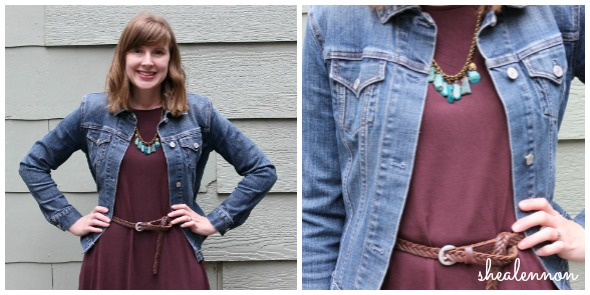 burgundy dress with jean jacket | www.shealennon.com