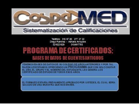 PROGRAMA DE CERTIFICADOS PARA COLEGIOS CLIENTES ANTIGUOS
