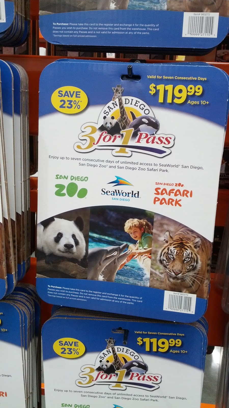 The 3-for-1 pass includes unlimited and flexible admission to SeaWorld, San Diego Zoo, and the San Diego Zoo Safari Park for 7 days. The price does not include parking, additional attractions, special events, or other extraneous purchases within each attraction.