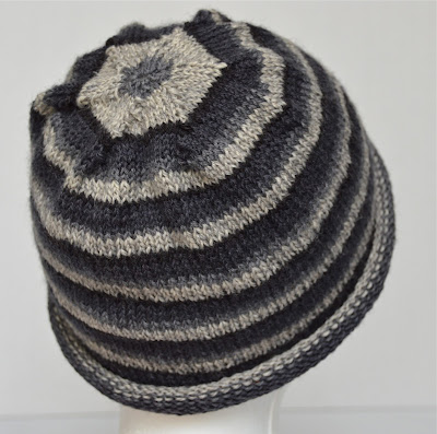 gray striped rolled brim hat