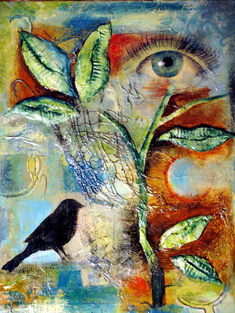 Mixed Media Manic Collage Paintings With Bird Symbolism