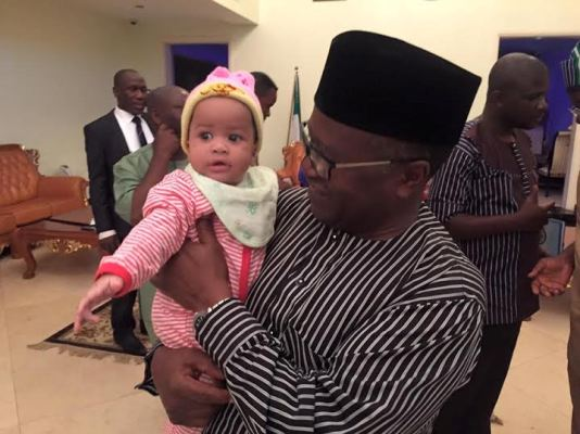 Benue state governor, Samuel Ortom and wife adopt little girl