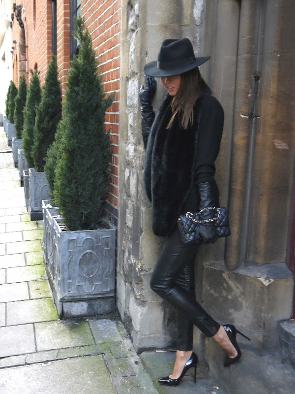 Fedora, Chanel Handbag, Leather Leggings, Christian Louboutin Pigalle Stilettos, Mayfair